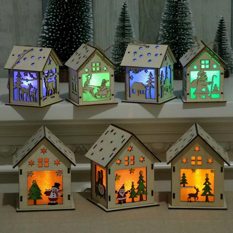 Festival Led Light Wood House Christmas Tree Decorations - RAPBLUE