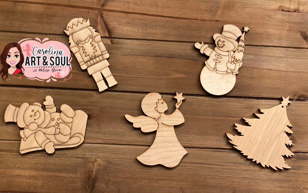 Wood ornament set