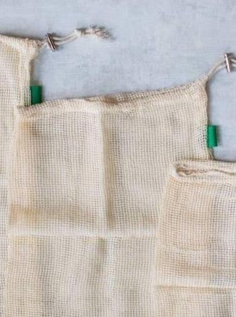 Cotton Mesh Produce Bags- Set of 3