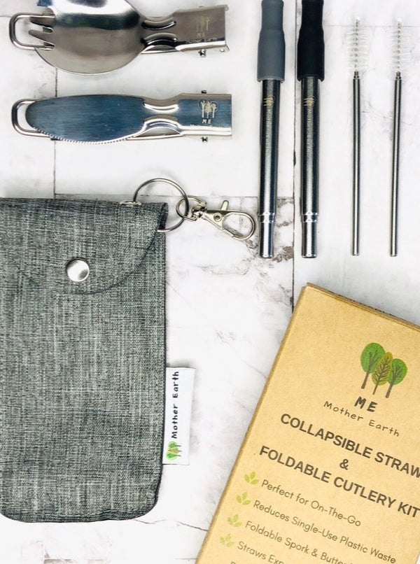 Collapsable Straw + Cutlery Set