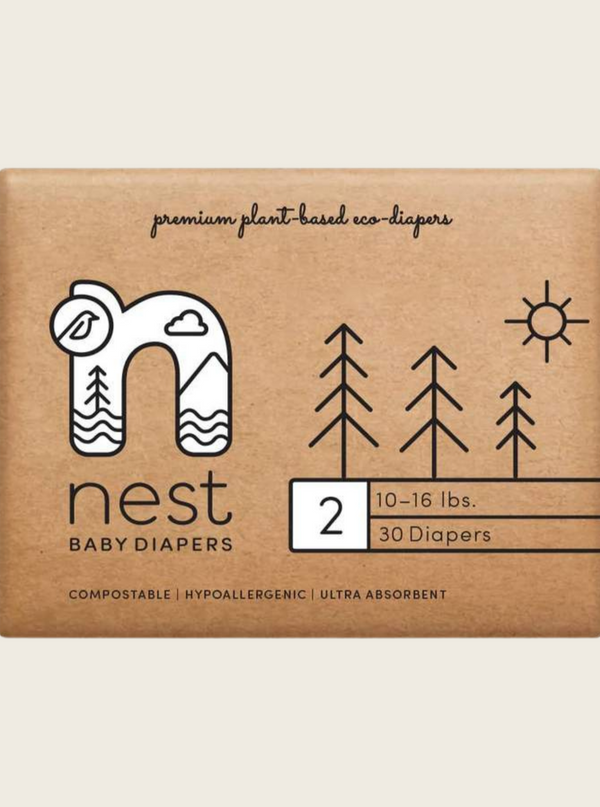 Natural Plant Based Diapers- Size 2 (10-16 lbs)