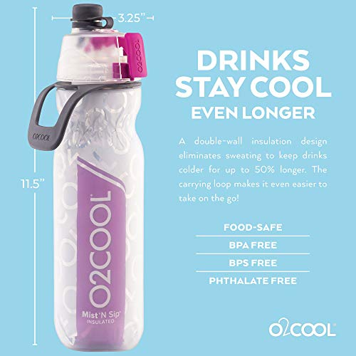 O2 cool mist n sip water bottle purple drink bottle insulated 600ml