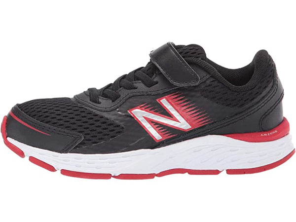 680 V6 boys kids running shoe black red white new balance velcro black red