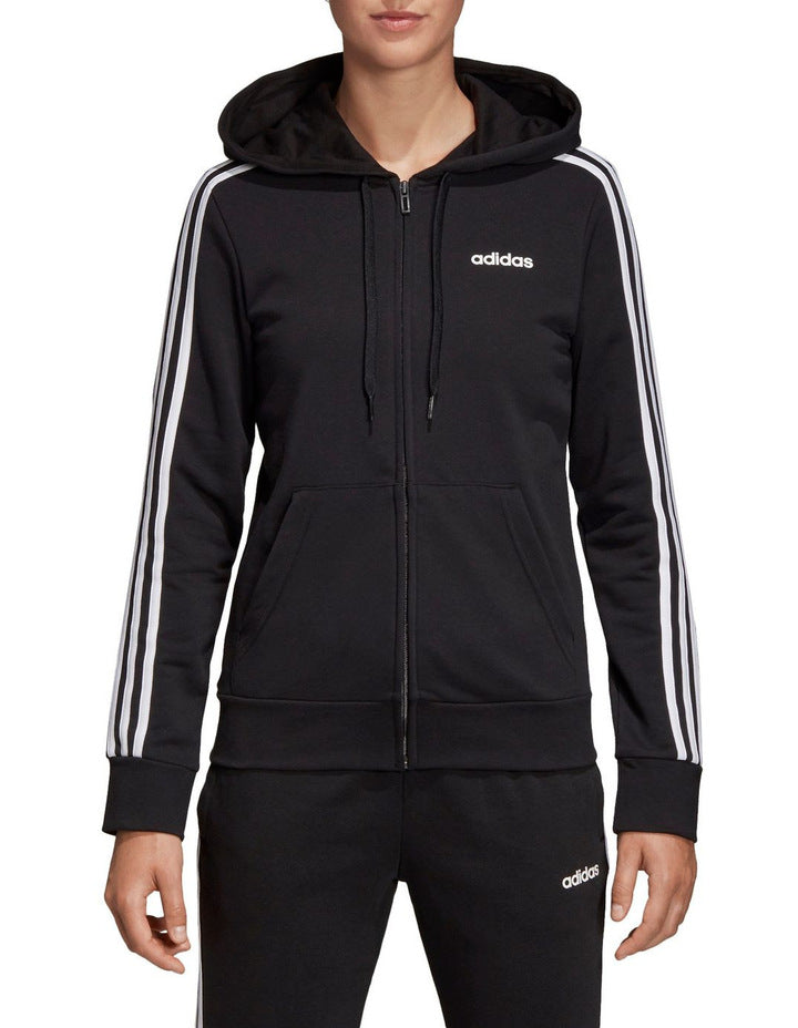 WOMENS ESSENTIAL 3 STRIPE FULL ZIP HOODIE