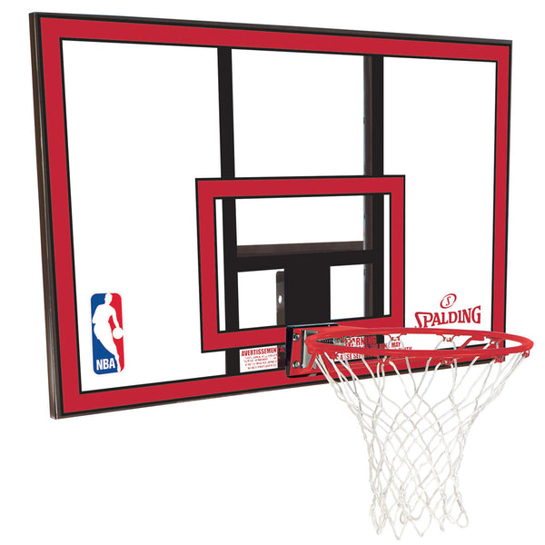 44INCH BASKETBALL COMBO - BACKBOARD AND RING spalding red black nba