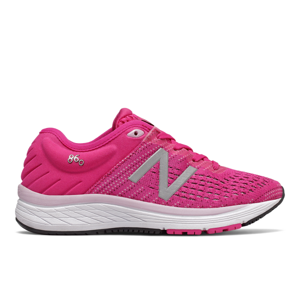 860 V10 pink new balance girls kids running shoe white sole pink mesh silver N logo