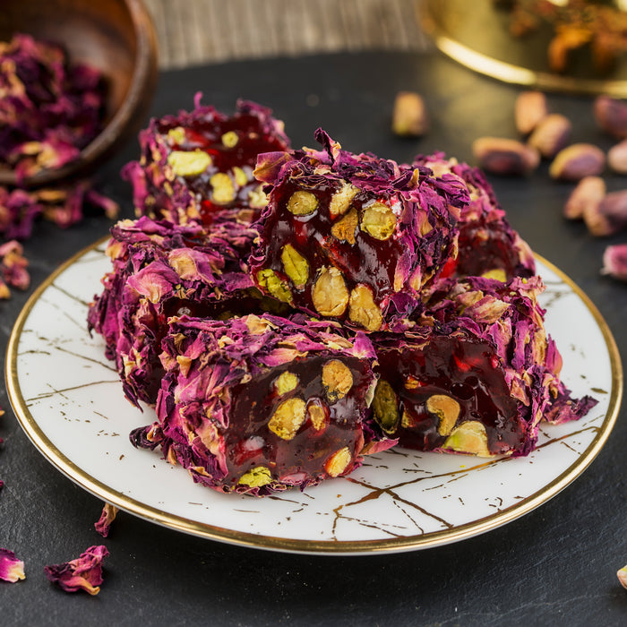 Pistachio & Pomegranate Turkish Delight - Coated with Natural Rose Petals