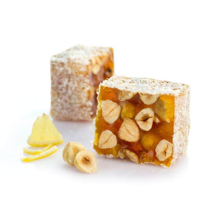 Hazelnut & Lemon Flavor Turkish Delight - Coated with Coconut Flakes