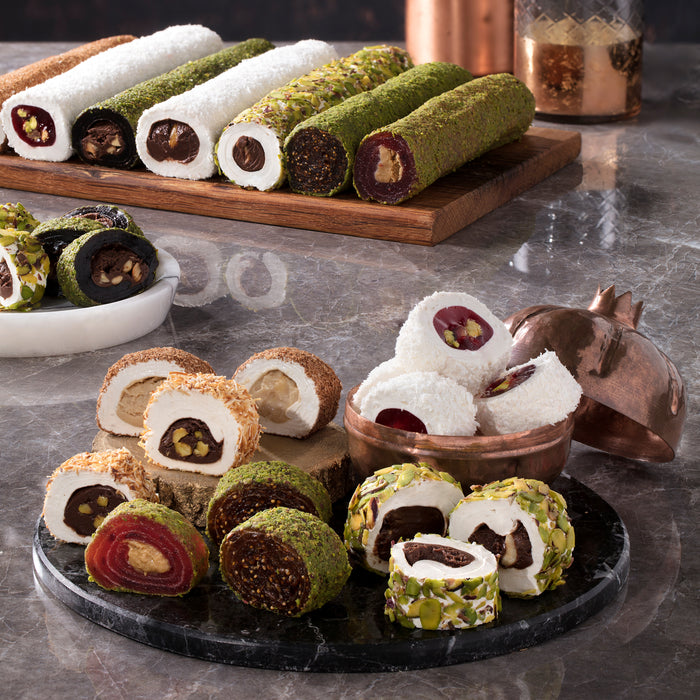 Turkish Delight Roll with Chocolate & Brownie - Coated with Ground Pistachio