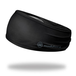 "3.5"" Black Polyester Tapered Non-Slip Headband"