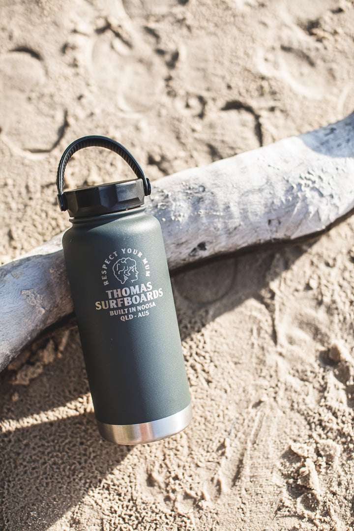 Thomas Pargo Water Bottle - Respect Your Mum (Charcoal) by Thomas Surfboards | Noosa Gift Co.