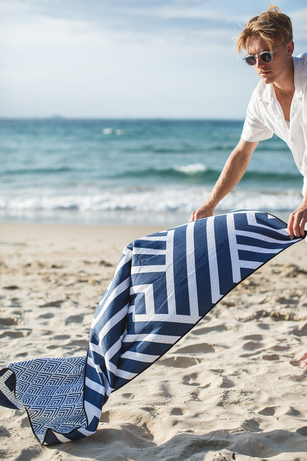 The Surfers Navy Beach Towel (130cm x 70cm) by Sky Gazer | Gift Boxes for him by Noosa Gift Co.