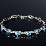 European Luxury Blue Crystal Zircon Bracelets Fashion Women