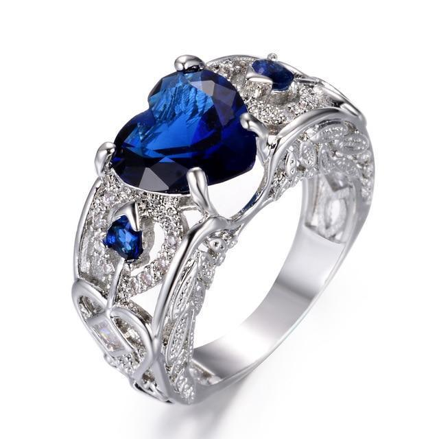 Womens Angel Wing Ring Blue Sapphire Birthstone