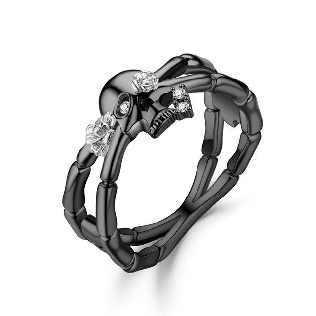 Skeleton Punk Biker Women's Men Ring skull