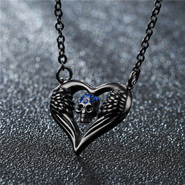Fashion Punk Women Skull Pendant Necklace Crystal Black Gold Silver Angel Heart