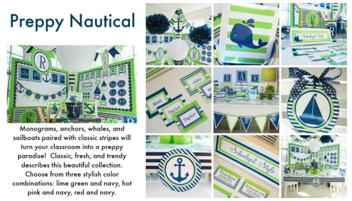 Preppy Nautical Lime Green & Navy Blue | Schoolgirl Style