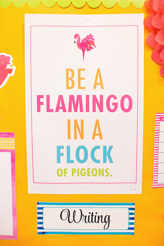 Flamingo Watercolor - Classroom Prints