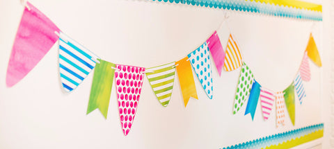 Flamingo Watercolor - Pennant Banner {UPRINT}
