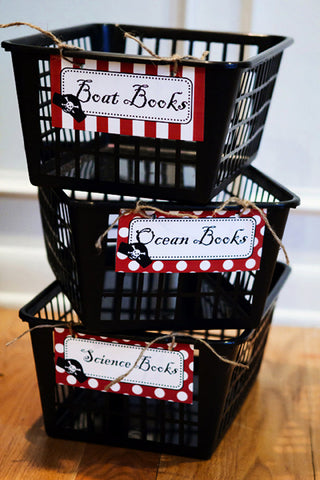 Pirate Book Basket Labels