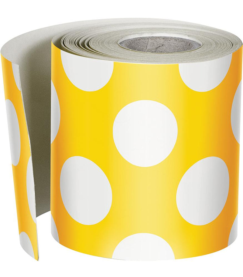 Schoolgirl Style - Your Future is Bright Yellow Polka Dot Rolled Foundation Border