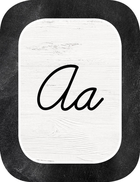 Industrial Chic Cursive Alphabet Cards