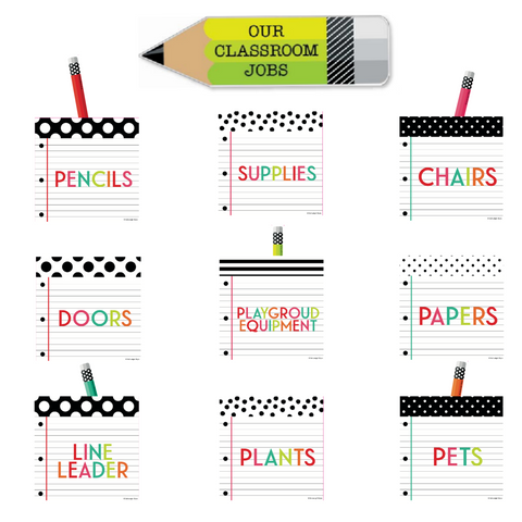 Black, White and Stylish Brights Classroom Jobs Mini Bulletin Board Set