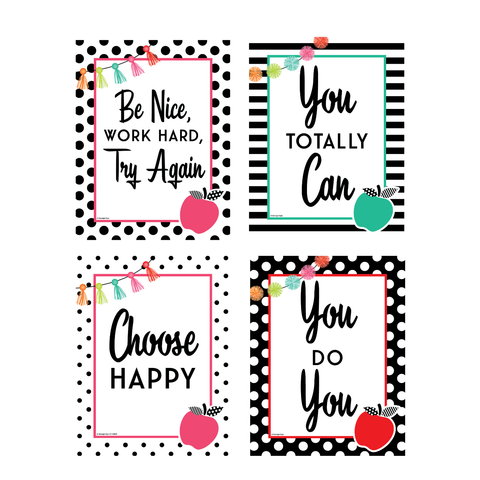 Schoolgirl Style - Black, White and Stylish Brights Mini Poster Set