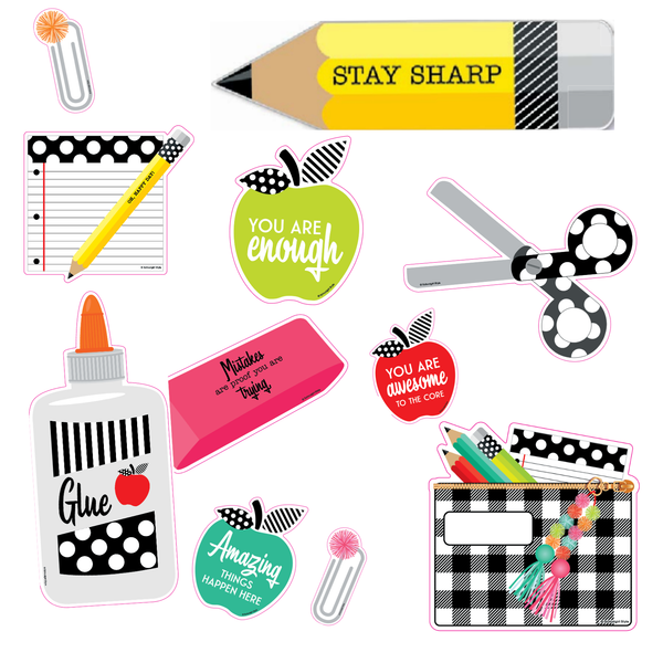 Schoolgirl Style - Black, White and Stylish Brights {STYLISH} Supplies Bulletin Board Set