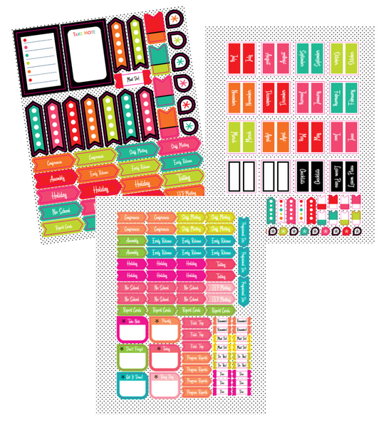 Black, White and Stylish Brights Planner Accent Stickers