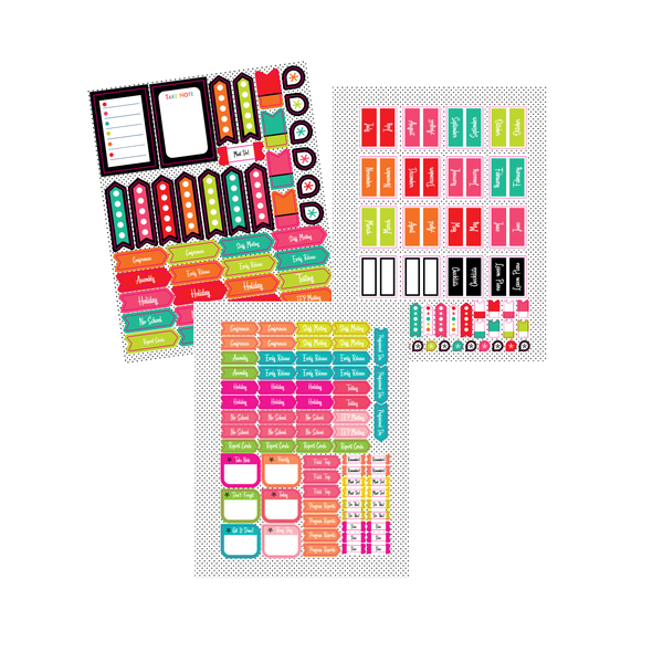 Black, White and Stylish Brights Planner