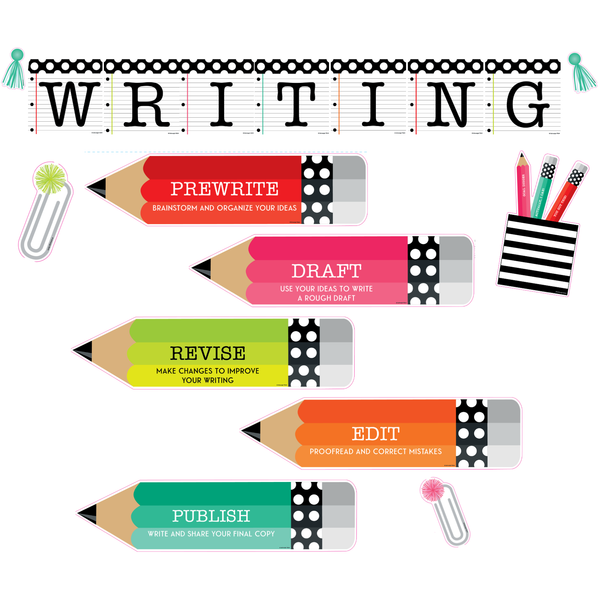 Black, White and Stylish Brights {THE WRITING PROCESS} Bulletin Board Set
