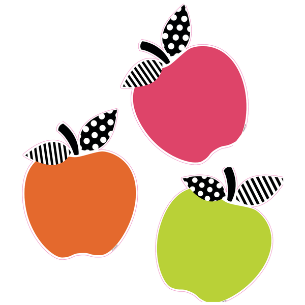 Black, White and Stylish Brights Apple Cut-Outs