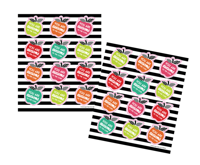 Schoolgirl Style - Black, White and Stylish Brights Apple Motivational Stickers