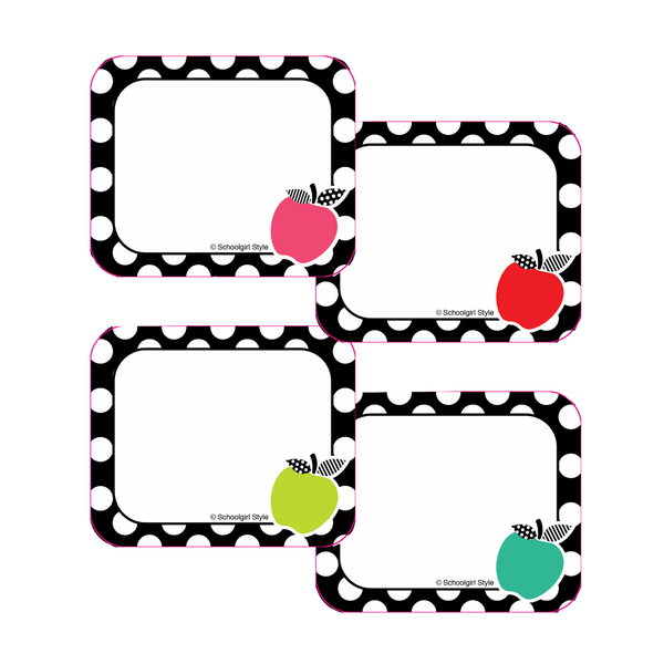 Schoolgirl Style - Black, White and Stylish Brights Apple Name Tags