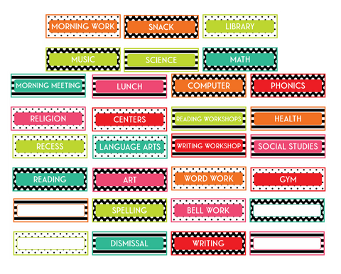 Black, White and Stylish Brights Schedule Cards {U PRINT}
