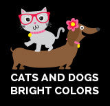 Cats and Dogs - Bright Colors