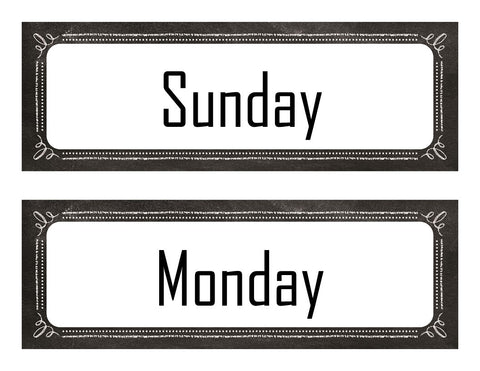graphic relating to Printable Days of the Week Labels identified as Chalkboard Polka Dot - Times of the 7 days