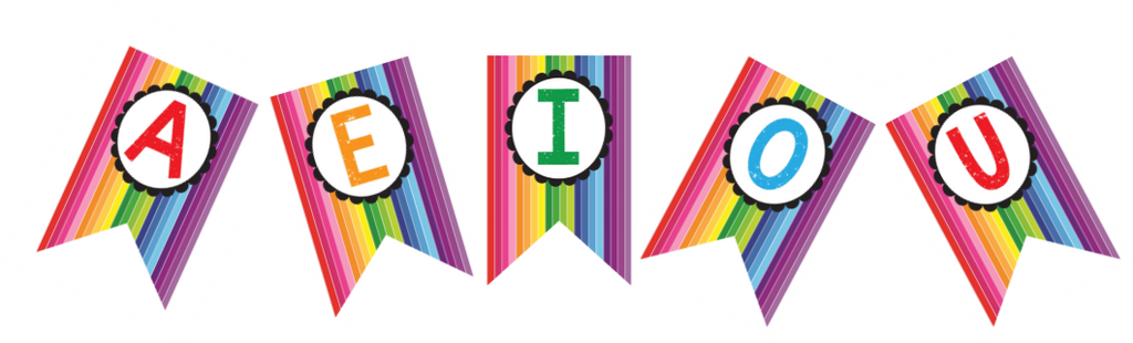 happy rainbow banner letters