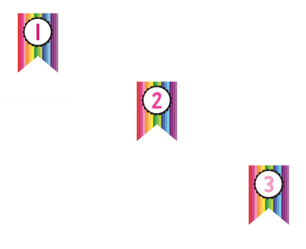 Happy Rainbow Banner Numbers {UPRINT}