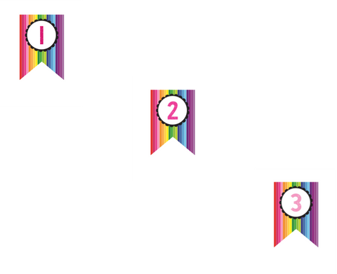Happy Rainbow Banner Numbers