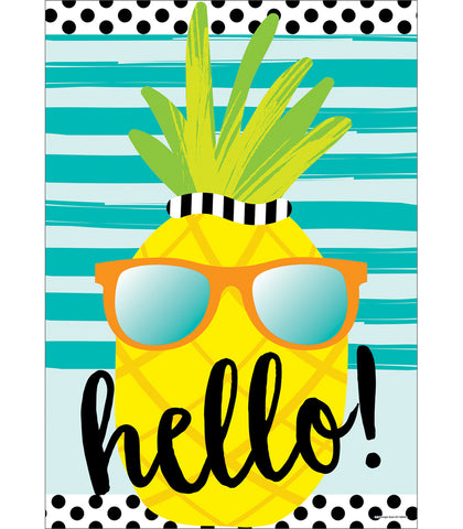 Simply Stylish Tropical 'Hello' Pineapple Poster