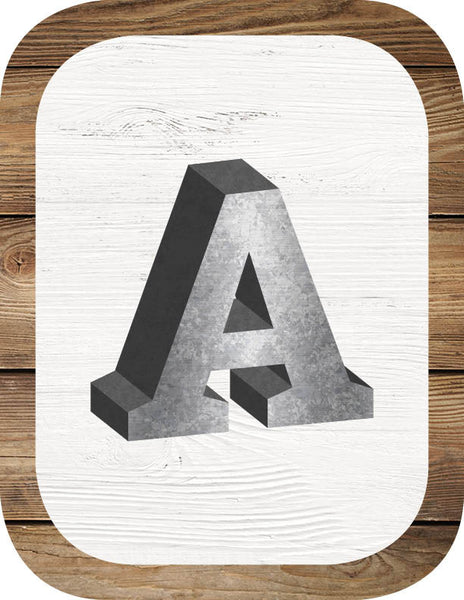 Industrial Chic SHIPLAP Metal ABC Signs