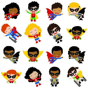 Superhero Multicultural Cut Outs
