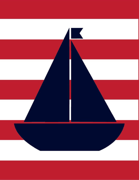 Preppy Nautical Red and Navy Blue Classroom Prints