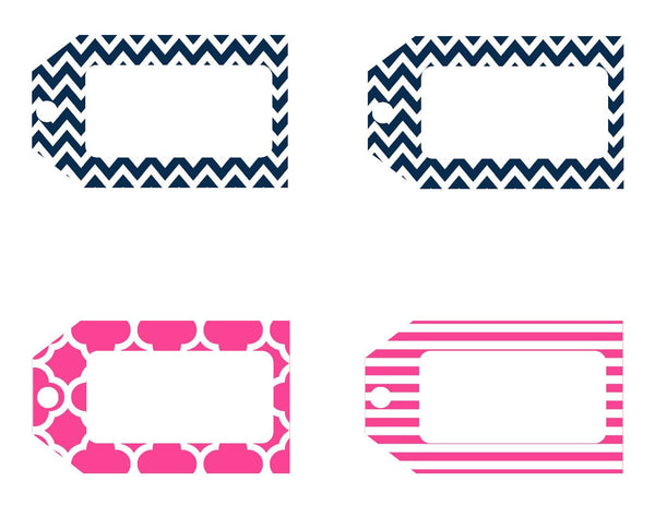 Preppy Nautical Hot Pink and Navy Blue Luggage Tags