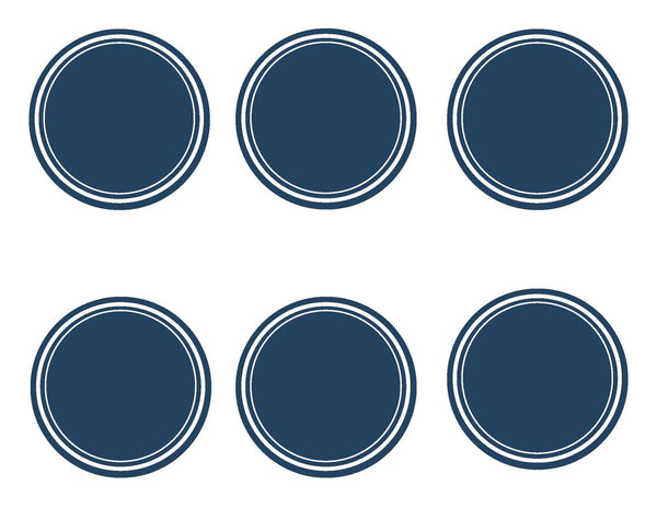 Preppy Nautical Red and Navy Blue 3 inch Round Labels