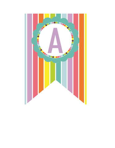 Bright Banner Letters - Stripes {UPRINT}