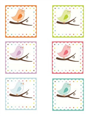 Bright Birds 3 inch Labels {UPRINT}