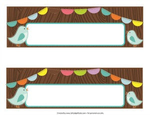 Bright Birds Fancy Nameplates {UPRINT}